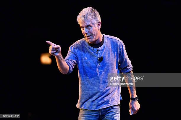 Anthony Bourdain speaks on stage during the Close to the Bone Tour at Auditorium Theatre on July 30 2015 in Chicago Illinois