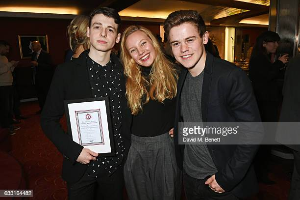 Anthony Boyle winner of the Jack Tinker Award for Most Promising Newcomer for 'Harry Potter And The Cursed Child' Louisa Krause and Sam Clemmett...