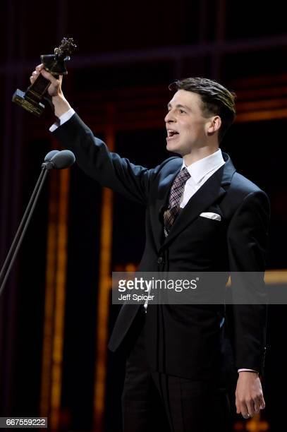 Anthony Boyle wins the Best Actor in a Supporting Role award for 'Harry Potter And The Cursed Child' on stage during The Olivier Awards 2017 at Royal...