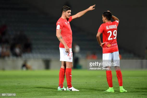 Anthony Briancon and Sofiane Alakouch of Nimes during the Ligue 2 match between Nimes Olympique and As Nancy Lorraine at Stade des Costieres on...