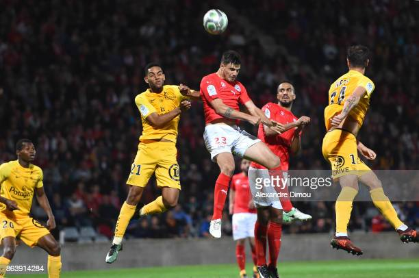 Anthony Briancon of Nimes and Jean Charles Castelletto of Brest during the Ligue 2 match between Nimes Olympique and Brest on October 20 2017 in...