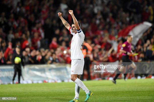 Anthony Briancon of Nimes celebrate the Victory during the Ligue 2 match between Nimes Olympique and AC Ajaccio on May 12 2017 in Nimes France