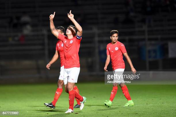 Anthony Briancon of Nimes celebrates his goal during the Ligue 2 match between Nimes and Aj auxerre on September 15 2017 in Nimes France