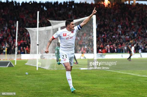 Anthony Briancon of Nimes celebrates scoring his goal during the Ligue 2 match between Nimes Olympique and AC Ajaccio on May 12 2017 in Nimes France