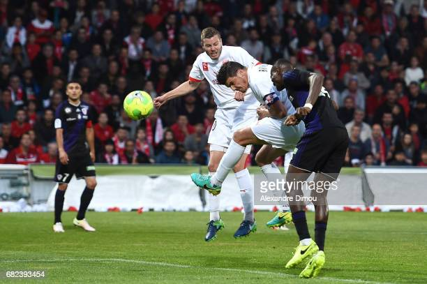 Anthony Briancon of Nimes scores the first goal during the Ligue 2 match between Nimes Olympique and AC Ajaccio on May 12 2017 in Nimes France