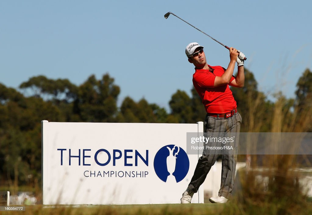 Anthony Brown of Australia plays a shot on the 5th hole during day two of the British Open International Final Qualifying Australasia at Kingston Heath Golf Club on January 30, 2013 in Melbourne, Australia.