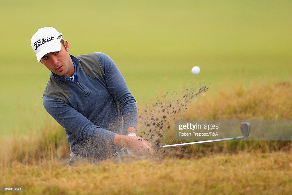 Anthony Brown of Australia plays a shot on the first hole during the Open International Final Qualifying Australasia day one at Kingston Heath Golf Club on January 29, 2013 in Melbourne, Australia.