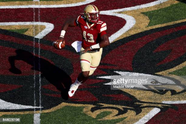 Anthony Brown of the Boston College Eagles looks for a pass against the Notre Dame Fighting Irish during the first half at Alumni Stadium on...