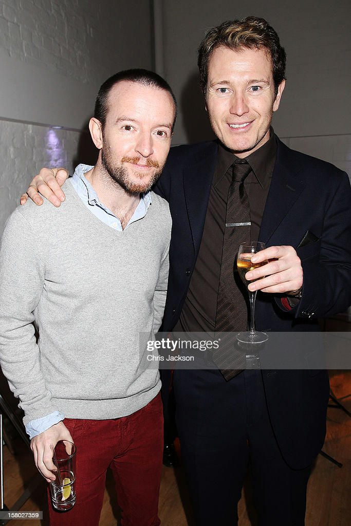 Anthony Byrne (L) and <a gi-track='captionPersonalityLinkClicked' href=/galleries/search?phrase=Nick+Moran&family=editorial&specificpeople=221364 ng-click='$event.stopPropagation()'>Nick Moran</a> attend the VIP backstage dinner ahead of this year's Old Vic 24 Hour Musicals Celebrity Gala at The Old Vic Theatre on December 9, 2012 in London, England.