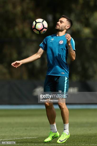 Anthony Caceres controls the ball during a Melbourne City FC training session at City Football Academy on March 3 2017 in Melbourne Australia