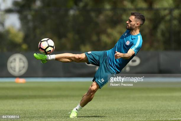 Anthony Caceres kicks during a Melbourne City FC training session at City Football Academy on March 3 2017 in Melbourne Australia