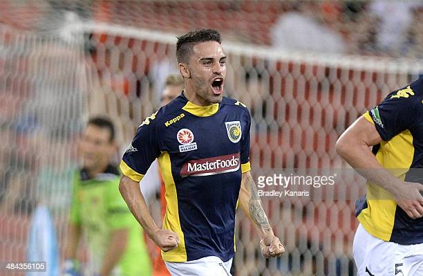 Anthony Caceres of the Mariners celebrates after scoring a goal during the round 27 ALeague match between Brisbane Roar and the Central Coast...
