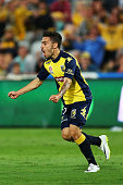 Anthony Caceres of the Mariners celebrates after scoring the opening goal during the round 16 ALeague match between the Central Coast Mariners and...