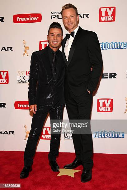 Anthony Callea and Tim Campbell arrive at the 2013 Logie Awards at the Crown Palladium on April 7 2013 in Melbourne Australia