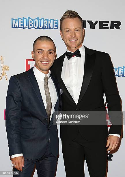 Anthony Callea and Tim Campbell arrive at the 2014 Logie Awards at Crown Palladium on April 27 2014 in Melbourne Australia