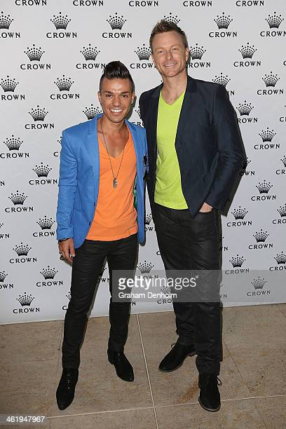 Anthony Callea and Tim Campbell arrive at the IMG tennis players party at Crown Towers on January 12 2014 in Melbourne Australia