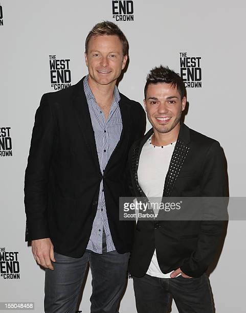 Anthony Callea and Tim Campbell attend the GH Mumm Spring Carnival Champagne Bar launch on October 31 2012 in Melbourne Australia