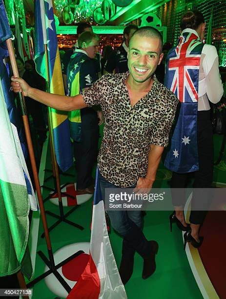 Anthony Callea arrives at the Crown's Celebrity Foosball Cup on June 11 2014 in Melbourne Australia