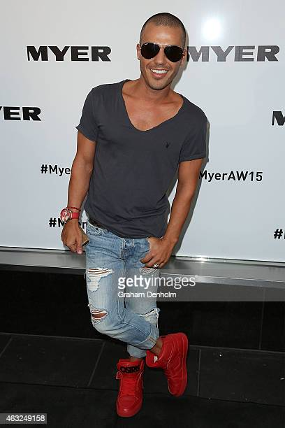 Anthony Callea arrives for the Myer A/W 2015 Season Launch at Myer Mural Hall on February 12 2015 in Melbourne Australia