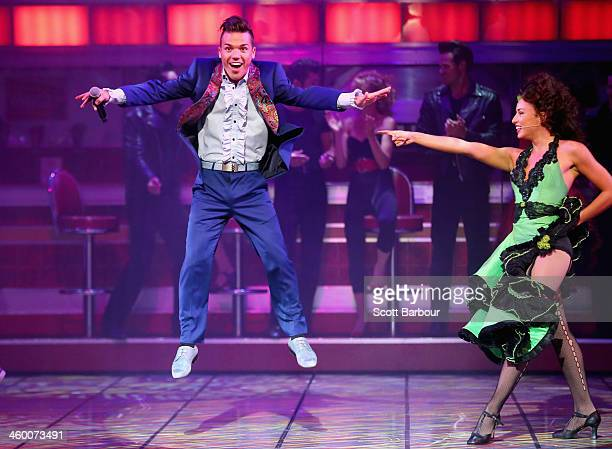 Anthony Callea performs during a Grease The Musical media call at Her Majesty's Theatre on January 2 2014 in Melbourne Australia