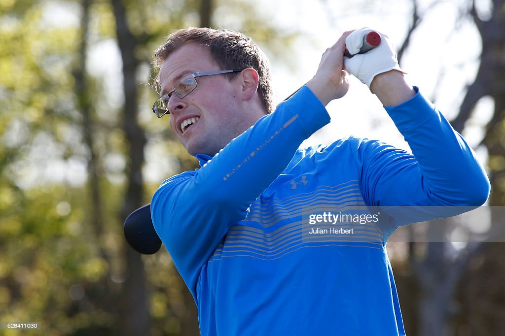 Anthony Chaloner of Celtic Manor Resort Ltd plays his first shot on the 1st tee during the PGA Professional Championship - West Qualifier at Burnham And Berrow Golf Club Club on May 5, 2016, in Burnham-On-Sea, England.