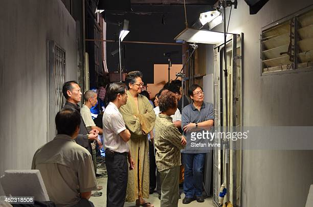 Anthony Chan centre with crew and extras on the Hong Kong film set of Rigor Mortis a horror film about vampires The film is Juno Mak's directorial...