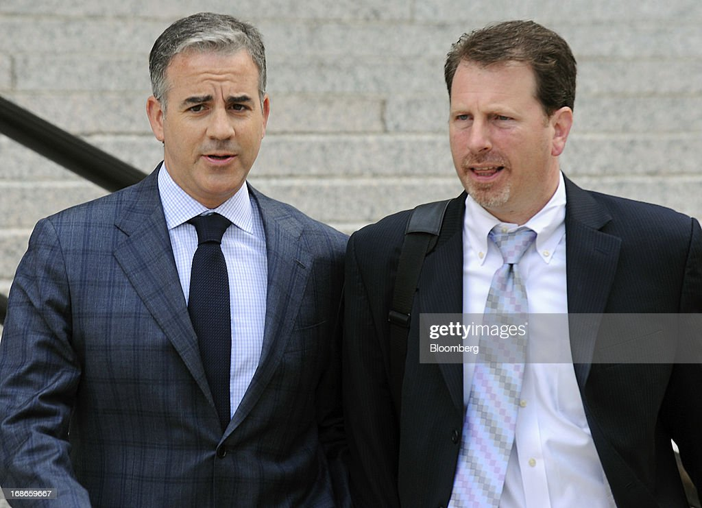 Anthony Chiasson, co-founder of Level Global Investors LP, left, exits federal court with his attorney Gregory Morvillo following a sentencing hearing in New York, U.S., on Monday, May 13, 2013. Chiasson was sentenced to 6 1/2 years in prison for using illegal tips funneled to him from analysts and company insiders to make $68 million for his hedge fund. Photographer: Peter Foley/Bloomberg via Getty Images