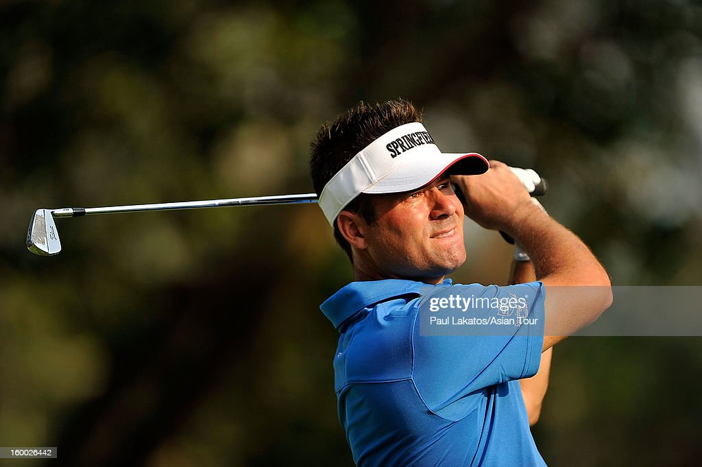 Anthony Choat of Australia plays a shot during round three of the Asian Tour Qualifying School Final Stage at Springfield Royal Country Club on January 25, 2013 in Hua Hin, Thailand.