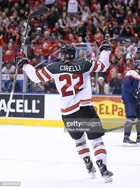 Anthony Cirelli of Team Canada celebrates a goal against Team Slovakia during a preliminary game in the 2017 IIHF World Junior Hockey Championship at...