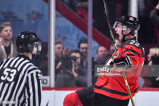 Anthony Cirelli of Team Canada celebrates his first period goal during the 2017 IIHF World Junior Championship semifinal game against Team Sweden at...