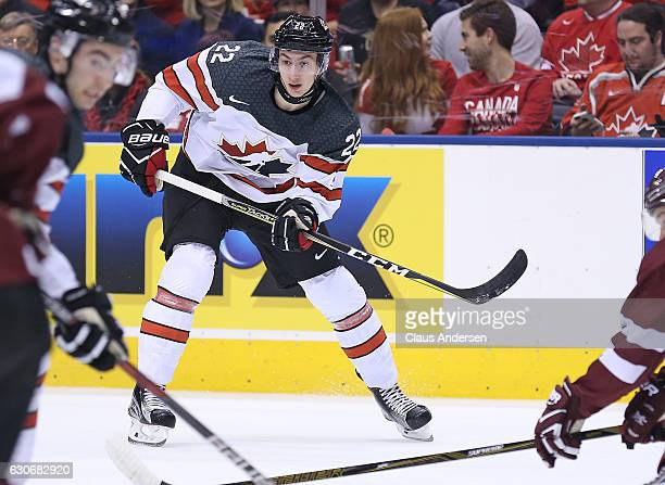 Anthony Cirelli of Team Canada skates against Team Latvia during a preliminary game in the 2017 IIHF World Junior Hockey Championships at the Air...