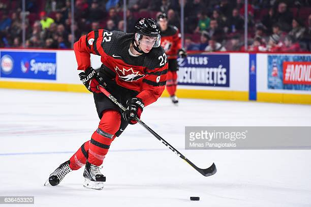 Anthony Cirelli of Team Canada skates the puck during the IIHF exhibition game against Team Finland at the Bell Centre on December 19 2016 in...