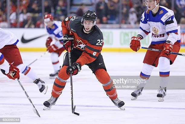 Anthony Cirelli of Team Canada skates with the puck against Team Russia during a game at the the 2017 IIHF World Junior Hockey Championships at the...