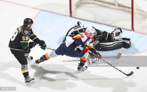 Anthony Cirelli of the Erie Otters is stopped by Tyler Parsons of the London Knights during an OHL game at Budweiser Gardens on March 10 2017 in...