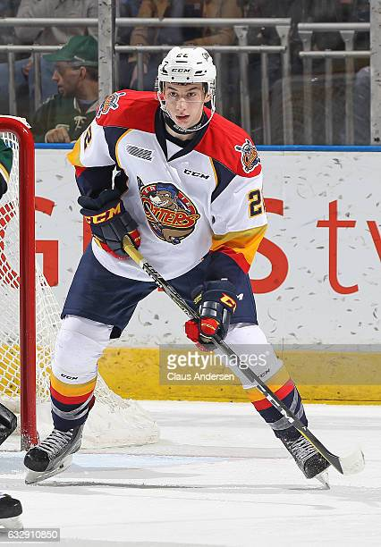 Anthony Cirelli of the Erie Otters skates against the London Knights during an OHL game at Budweiser Gardens on January 27 2017 in London Ontario...