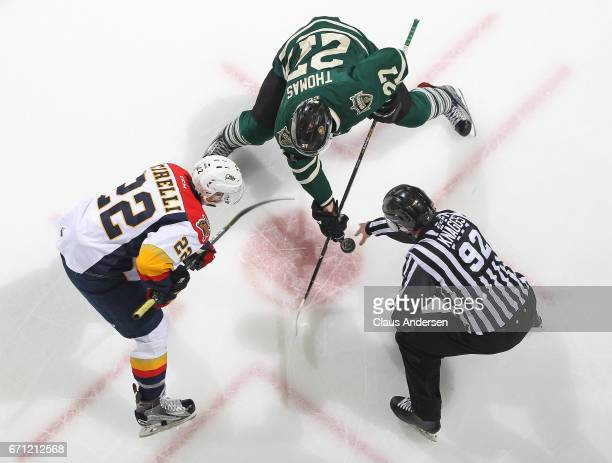 Anthony Cirelli of the Erie Otters takes a faceoff against Robert Thomas of the London Knights in Game Six of the OHL Western Conference SemiFinal on...