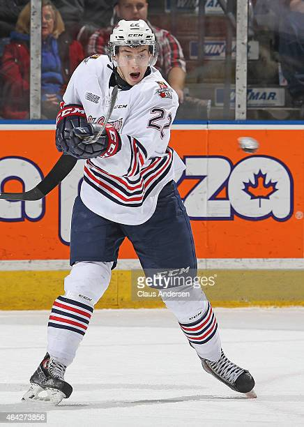 Anthony Cirelli of the Oshawa Generals looks to tip a puck against the London Knights during an OHL game at Budweiser Gardens on February 20 2015 in...