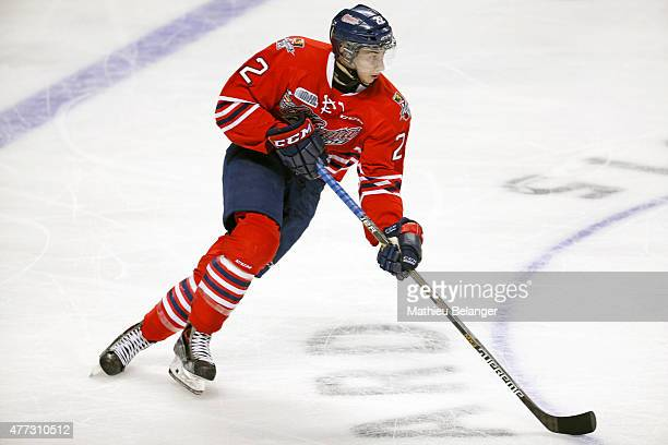 Anthony Cirelli of the Oshawa Generals skates during the second period of Game Two of the 2015 Memorial Cup against the Rimouski Oceanics at the...