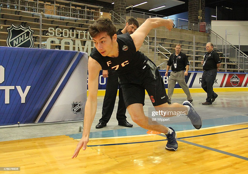 Anthony Cirelli performs an agility test during the NHL Combine at HarborCenter on June 6, 2015 in Buffalo, New York.