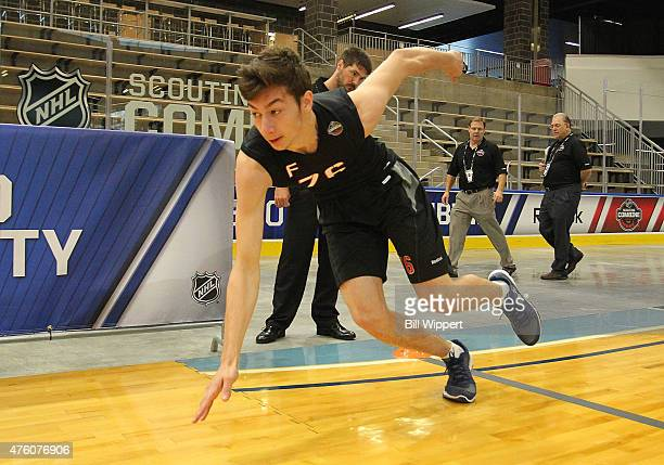 Anthony Cirelli performs an agility test during the NHL Combine at HarborCenter on June 6 2015 in Buffalo New York