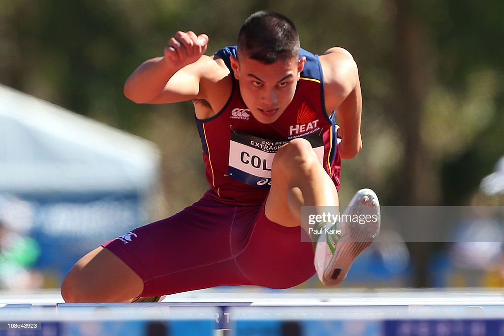 Anthony Collins of Queensland competes in the Mens under 20 110 metre hurdle prelims during day one of the Australian Junior Championships at the WA Athletics Stadium on March 12, 2013 in Perth, Australia.