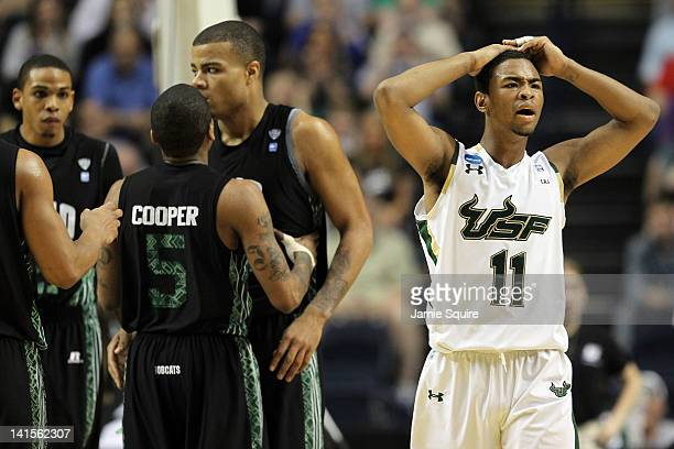 Anthony Collins of the South Florida Bulls reacts after a play against the Ohio Bobcats during the third round of the 2012 NCAA Men's Basketball...