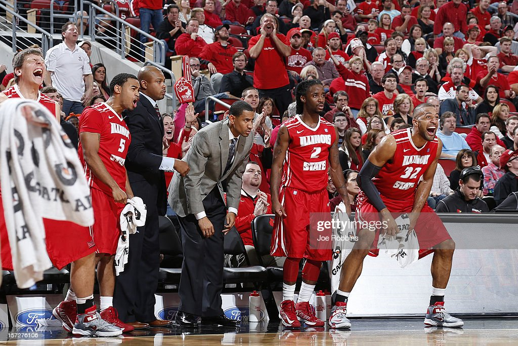 Anthony Cousin #5, Bryant Allen #2, Jackie Carmichael #32 and the Illinois State Redbirds bench react during the game against the Louisville Cardinals at KFC Yum! Center on December 1, 2012 in Louisville, Kentucky. Louisville won 69-66.