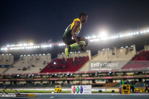 Anthony Cox of Jamaica prepares in the boys 400m semifinal during day 2 of the IAAF U18 World Championships at Moi International Sports Centre...