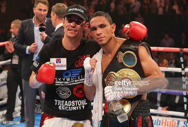 Anthony Crolla and Darleys Perez after their fight was announced as a draw during their WBA World Lightweight Championship contest at the Manchester...