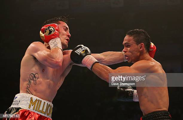 Anthony Crolla and Darleys Perez during their WBA World Lightweight Championship contest at the Manchester Arena on July 18 2015 in Manchester England