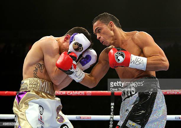 Anthony Crolla and Darleys Perez during their WBA World Lightweight Championship bout at the Manchester Arena on November 21 2015 in Manchester...