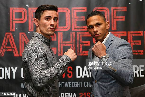 Anthony Crolla and Darleys Perez II pose head to head during a press conference to promote their forthcoming rematch at the Radisson Blu Hotel on...