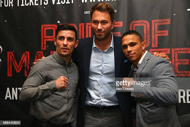 Anthony Crolla and Darleys Perez II pose head to head with promoter Eddie Hearn during a press conference to promote their forthcoming rematch at the...