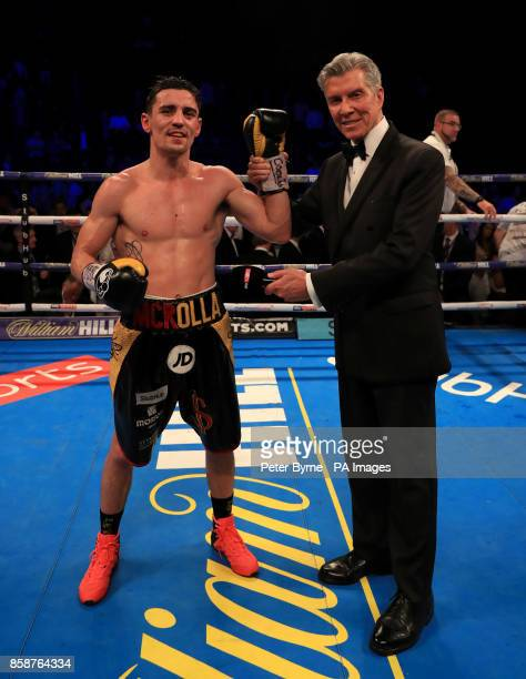 Anthony Crolla celebrates after beating Ricky Burns after their Lightweight contest at Manchester Arena